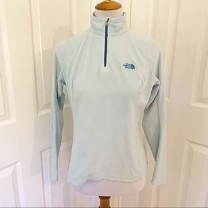 The north face light blue fleece zip pullover s